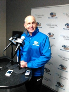 Riverhounds Coach Mark Steffans was all smiles after 5-2 opening night win.