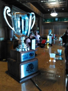 The Turnpike Cup made its debut in the Riverhounds' sports pub at Highmark Stadium in March.