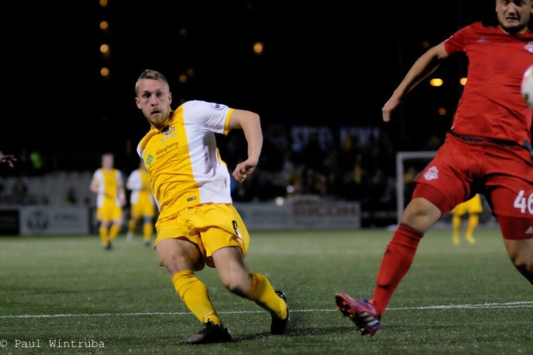 Riverhounds Rob Vincent (pictured here) is currently among the USL leaders in goals, with six in seven games. (Photo courtesy of Paul Wintruba)