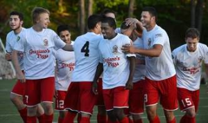Charleston Chaos celebrate their goal in the opening minutes of their 1-0 defeat of Fort Pitt Regiment last night.