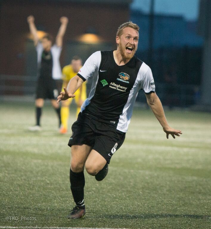 Rob Vincent's late goal lifted the Riverhounds past the Tampa Bay Rowdies in the US Open Cup Third Round.  The Hound will now play DC United in the Fourth Round at Highmark Stadium on June 17. (Photo Courtesy of Pittsburgh Riverhounds)
