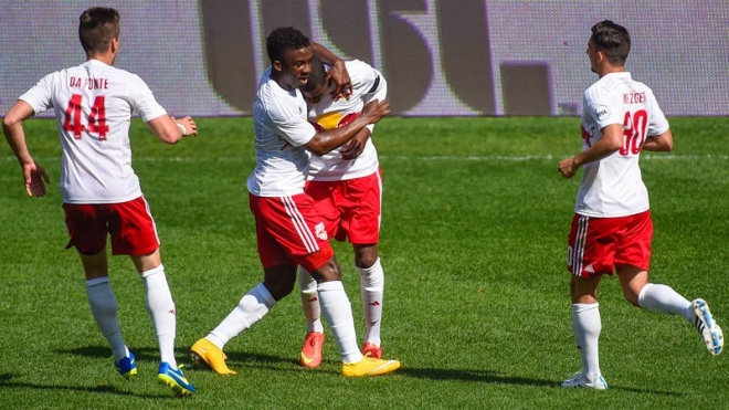 Anthony Wallace's stoppage time goal was the difference as Red Bull II stunned the Pittsburgh Riverhounds on Sunday.