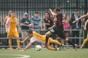 Anthony Arena made up for his early slip, leading a patched up defense to a solid performance against Richmond on Saturday at Highmark Stadium.