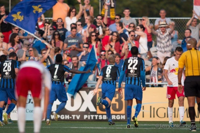 Rob Vincent had a pair of goals to help the Hounds beat the Red Bulls II, 2-0, on July 4 at Highmark Stadium.