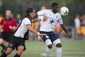 Former Riverhounds defender, Willie Hunt, pictured left, had a rough night in October.