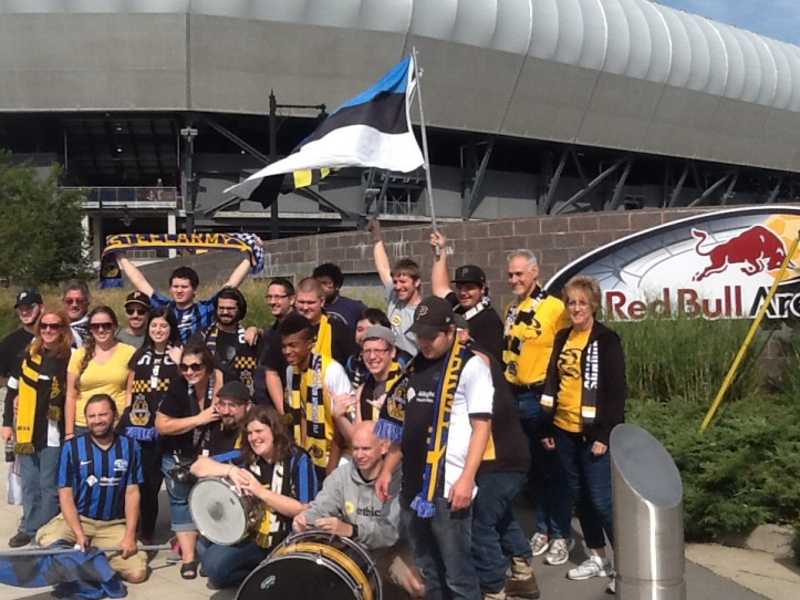 Steel Army arrives at Red Bull Arena before the game...