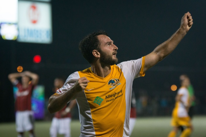 Kevin Kerr and the Pittsburgh Riverhounds are still in the thick of the playoff race despite failing to get win on Saturday against Charleston. (Photo Courtesy Pittsburgh Riverhounds)