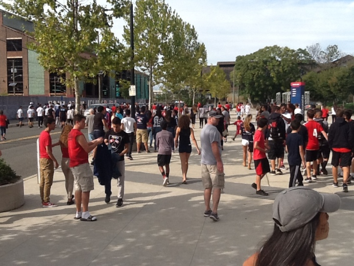 Over 5,000 people attending a HS soccer games between Harrison-Kearny  spilled out into the streets at Red Bull Arena, in Harrison, NJ, on Saturday before the Riverhounds-Red Bulls II USL playoff match.